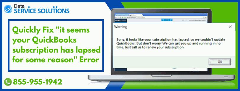 QuickBooks Subscription Has Lapsed Error