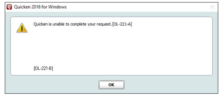 Quicken Error Code OL-221-A