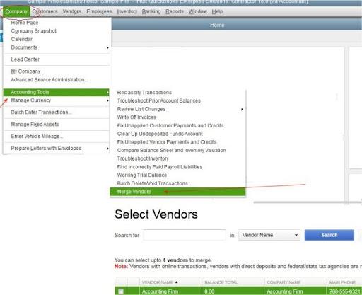 Choose Merge Vendor under Accounting Tools Option