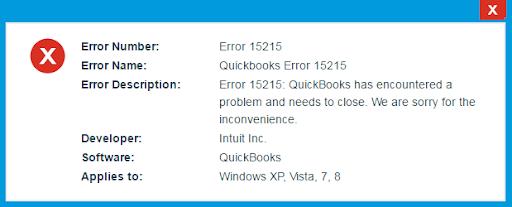 QuickBooks 2014 Maintenance Release Error 15215